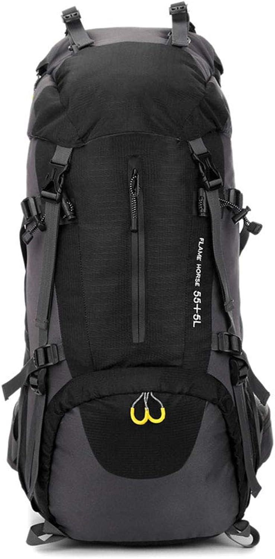 HWYD Outdoor-Rucksack 60L groer Rucksack für Sportreisen Camping Wandern Tasche Wandern,schwarz