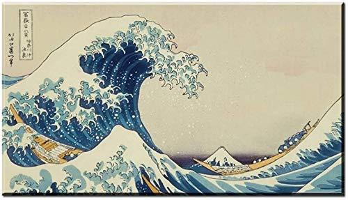 """Surfilter-Druck auf Leinwand Japanisch Die große Welle von Kanagawa klassisches Kunstplakat Leinwand Stoffdruck Wandkunst Dekor Home Decals Leinwandmalerei 70 x 140 cm (27,5""""x 55,1"""") Kein Rahmen"""