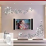 ufengke® 3D Fleurs Diagonales Effet De Miroir Stickers Muraux Design À La Mode Art De Décalque Décoration De La Maison Argent