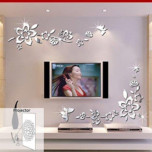 ufengke 3D Fiori Diagonali Effetto Specchio Adesivi Murali Fashion Design Arte Adesivi da Parete Decorazione Domestica Argento