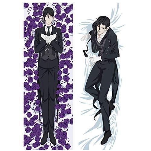 UANOU Funda de almohada de doble cara con diseño de anime Sebastian Michaelis, color negro