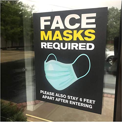 Face Masks Required Store Sign - Mask Required Door and Window Decal - 8.5' x 11' Removable Vinyl Decal (5 per Pack)