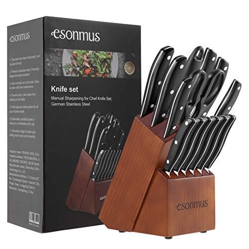 esonmus Messerblock, Messerset mit Edelstahlklinge und Ergonomischem ABS-Griff, Extra Scharf Edelstahl Kochmesser Set mit Holzblock, 15-teiliges Messerblock Set