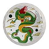 4 pomos blancos para gabinetes de cocina dormitorio armario aparador cajones tradicional chino dragón verde