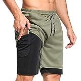 STARBILD Pantaloncini Sportivi da Uomo 2 in 1 Bermuda Estate Shorts Sport con Tasche con Cerniere...