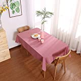 Molaxhome Plain Table Cloths Rectangle Tablecloth Washable Polyester for Restaurant Pub Oblong Buffet Table Parties Holiday Dinner Wedding (Pink, 140 x 180)