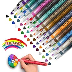 【Apply to Any Surfaces】Comes with 28 different bright colors to give your art project more attractive and variety ,these acrylic versatile paint markers work perfect on rock painting, glass, ceramic, cloth, plastic, wood, paper, metal, canvas, pebble...
