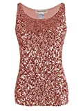 Anna-Kaci Womens Sparkle & Shine Glitter Sequin Embellished Sleeveless Round Neck Tank Top, Rose Gold, XX-Large