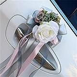 RAILONCH - Tirador de puerta para novia o dama de honor, broche de simulación para decoración de espejo retrovisor, color champán (gris ahumado)