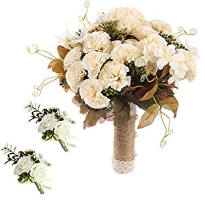 HL1971 Bridal Bouquet Wedding, Silk Carnation Wedding Bouquet, Suitable for Wedding, Proposal, Party, Church (Free Two Corsages) (Yellow)