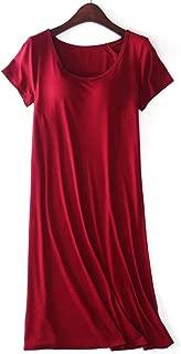 Zylioo Women`s Modal Padded Built-in-Bra Dresses Short-Sleeve Crewneck T-Shirts Wireless Bra Tops Tee