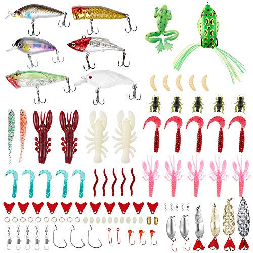 Qissep 100 Piezas Señuelos de Pesca, Kits de Señuelos Pesca Accesorios Cebos Artificiales Articulos de Pesca señuelos para ranas, señuelos para crankbait,con caja de aparejos