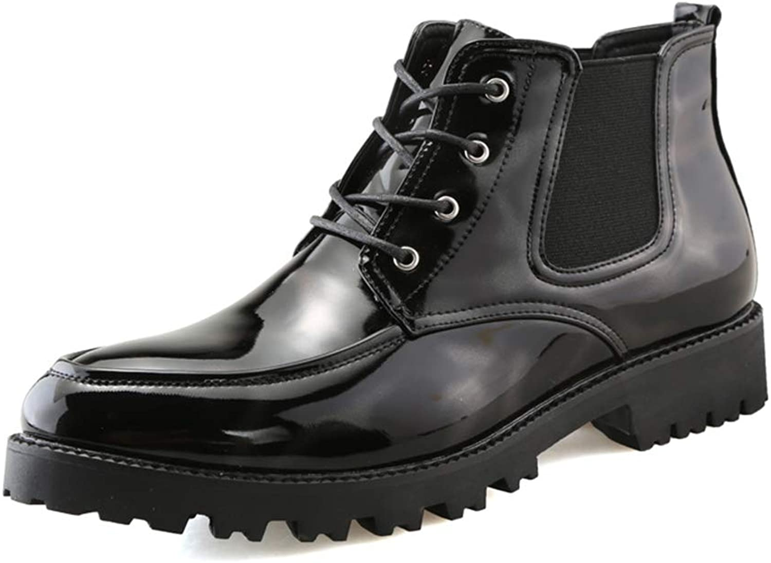 Men's Fashion Ankle Boots Casual Hit color Round Top Waterproof Outsole British Style Martin shoes