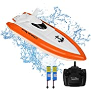 RC Boat for Adults & Kids, High-Speed Electronic Remote Control Racing Boat with 2 Rechargable Battery, Indoor/Outdoor Boats for Pools and Lakes (Only works in water)
