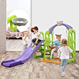 Yinguo 4in1 Toddler Slipping Climber and Swing Set, Kids Playset with Removable Basketball