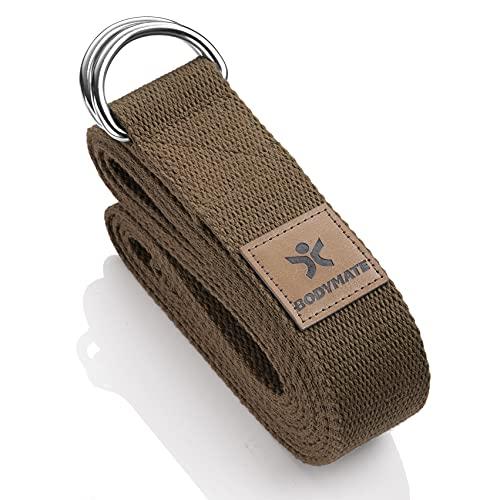BODYMATE Yogaband med metallspänne, Yogaband för nybörjare och proffs, Yogarem av 100% bomull,...