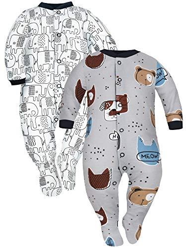 Sibinulo Jungen Mädchen Baby Schlafstrampler Kleinkind, 3-6 Monate 100% Baumwolle Babykleidung Set 2er Pack Graue Tiere, Schwarze Elefanten 68