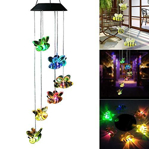 BONNIO Solar-LED-Windspiele beleuchten bunten Hellen Garten-Verzierungs-Sonnenblumen-Bienen-Schmetterling im Freien