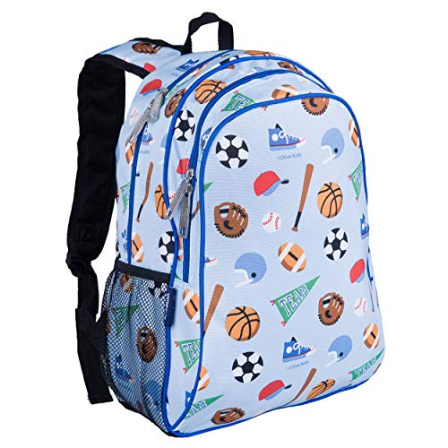 Wildkin Kids 15 Inch Backpack for Boys and Girls, Perfect Size for Preschool, Kindergarten and Elementary School, 600-Denier Polyester Fabric Backpacks, BPA-free, Olive Kids (Game On)