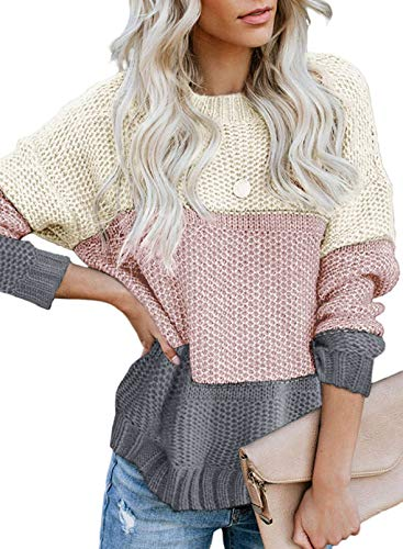 Lovezesent Womens Causal Crewneck Long Sleeve Striped Color Block Knit Jumper Winter Warm Soft Striped Pullover Sweaters for Women Gray Medium