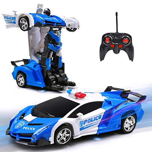 New Police RC Car Transforming Robot Toy for 5-16 Yrs Old Kid Remote Control Vehicle One Button Deformation & 360 Speed Drifting Cool Police Car Toy Best Gift for Boys (Police Blue)