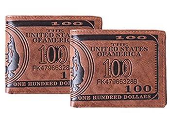 HENGSONG Men US Dollar Bill Wallet PU Leather Credit Card Photo Holder Bifold Billfold  2Pcs