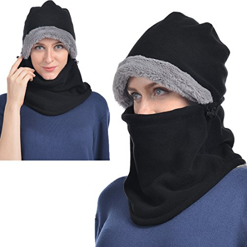 USHAKE Balaclava Fleece Hood for Men or Women, Heavy Fleece Unisex Balaclavas, Ski Face Mask, Winter Neck Warmer Protective Headgear Wind Proof Cap for Snowboarding Cycling Dog Walking