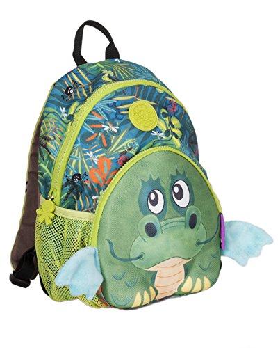 okiedog wildpack junior 86002 Kinderrucksack, Rucksack mit Plüschohren, Kita-Rucksack, Netzaußentaschen, Brustgurt, Drache grün, ca. 25 x 12,5 x 28 cm
