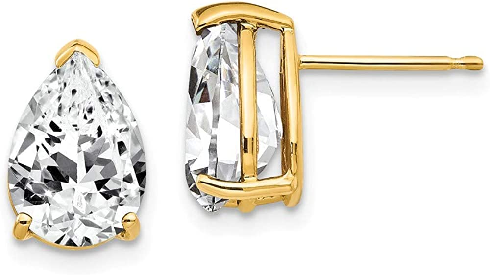 Solid 14k Yellow Gold 10x7mm Pear Cubic Zirconia CZ Studs Earrings - 12mm x 7mm