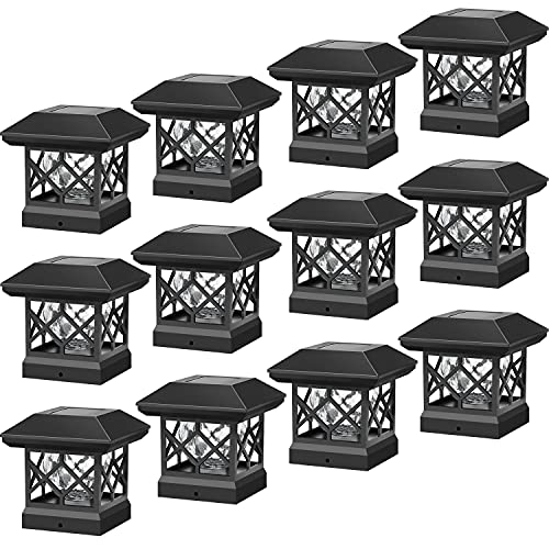 Twinsluxes Solar Post Cap Lights Outdoor - Waterproof LED Fence Post Solar Lights for 3.5x3.5/4x4/5x5 Wood Posts in Patio, Deck or Garden Decoration Warm Light… (12 Pack)…