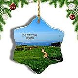 Weekino España Monte de San Pedro La Coruña Decoración de Navidad Árbol de Navidad Adorno Colgante Ciudad Viaje Porcelana Colección de Recuerdos 3 Pulgadas