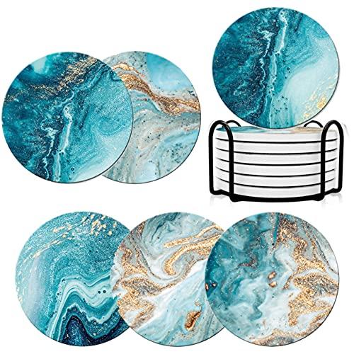 Posavasos (juego de 6), posavasos de cristal estilo mármol con base de corcho, posavasos de cerámica absorbente con soporte para mesa bar, casa, salón, decoración de cumpleaños