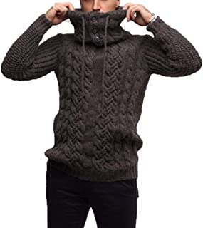Men High Turtleneck Knit Sweatshirt Pullover Casual Solid Button Collar Fall Winter Streetwear