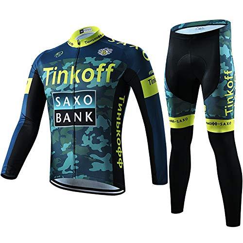 Homme Maillot de Cyclisme Jersey Manches Longues + Pantalons avec 3D Coussin Respirantes Séchage Rapide Vêtements de Cyclisme pour Vélo VTT Sports de Plein Air Taille (XXL,15SAX)