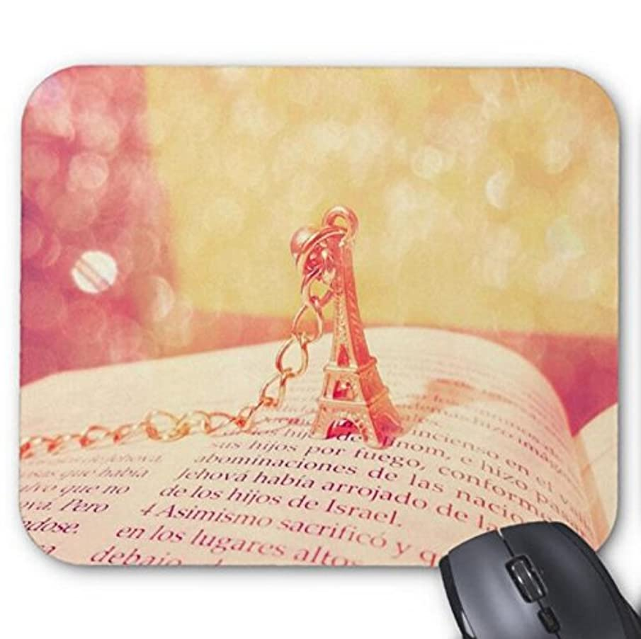 Mousepad Tower Necklace and Book Print Mouse Mat 11.8 X 9.8 in