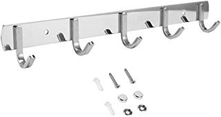 Efaithtek Wall Mounted Coat Hook Rail 14.3-Inch SUS304 Stainless Steel Coat Bath Towel Hook Hanger with 5 Hooks,Mirror finish