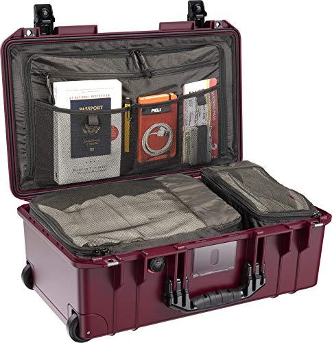 PELI 1535TRVL Travel Air Case, Maleta de Cabina con Ruedas Resistente a los Impactos, estanca, 26L de Capacidad, Fabricada en EE.UU, con Compartimentos para la Ropa, Color: Rojo