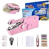 Handheld Sewing Machine,Amigao 30PCS Mini Sewing Machine[Handheld Portable Small Cordless Electric Hand Stitch Quick Repairing Lightweight]Portable Sewing Machine(Pink)