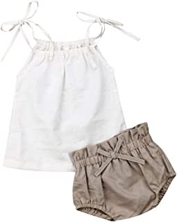 JBEELATE Newborn Baby Girl Summer Outfits Linen Solid Cami Tank Top Shorts Pants Infant Girl Clothes Set (1-2T, 90)