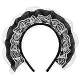 Agoky Damen Dienstmädchen Haarreif Spitzen Stirnband Haarband Erotische Dessous Reizwäsche Accessoires Weiß&Schwarz One Size