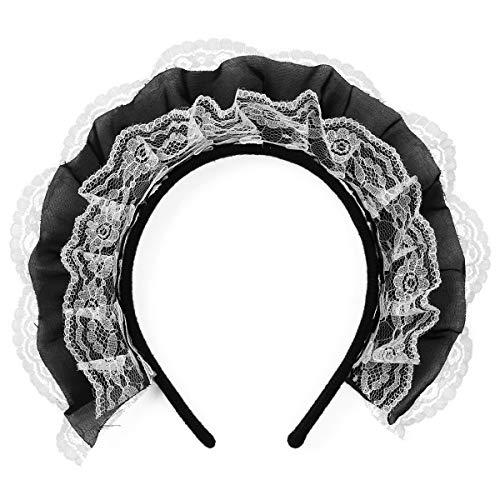 FEESHOW Damen Spitze Haarband Französische Maid Stirnband Dienstmädchen Cosplay Kostüm Zubehör Haarschmuck Typ A Weiß & Schwarz One Size