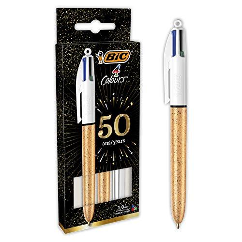 BIC4Colores Bolígrafos de Punta Media (1,0mm) - Cuerpo de Varios Colores (Texturizado Escarchado Dorado y Plateado), Pack de3