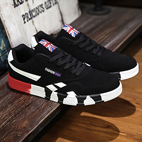 KAKA(TM) Men Fashion Design Spring Autumn Causal Shoes Sports Sneakers Black and Red 44