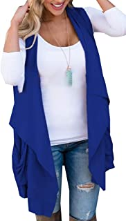 Womens Sleeveless Solid Asymetric Hem Open Front Cardigan