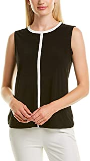 ANNE KLEIN Jersey Knit Piped Crew Neck Top