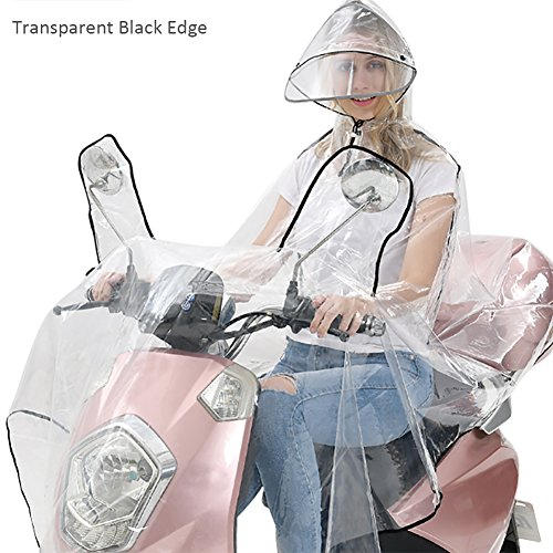 blue--net Transparent Double Hat-brim Extra Large Windproof Rainproof Motorcycle Scooter Rain Hoodie Coat Women Men Big Raincoat Cover Cape Poncho Rainwear Full Protection with Reflector Strips