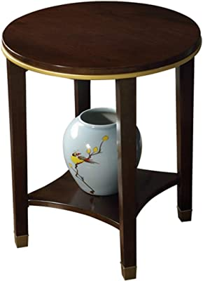 Coffee Table Side Table, Home Light Luxury Solid Wood Coffee Table, Living Room Sofa Side Table, Balcony Round Corner Table, Strong and Durable Bearing (Color : Brown, Size : 56 * 60cm)