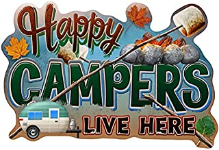 Happy Campers Live Here Novelty Sign   Indoor/Outdoor   Funny Home Décor for Garages, Living Rooms, Bedroom, Offices   SignMission Personalized Gift Wall Plaque Decoration