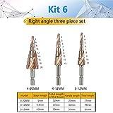 IGOSAIT Brocas de taladro de paso HSS de 4 a 32 mm con ranura en espiral para herramientas eléctricas de vástago hexagonal, precio de 15 pasos, metal de titanio (color: Kit6)