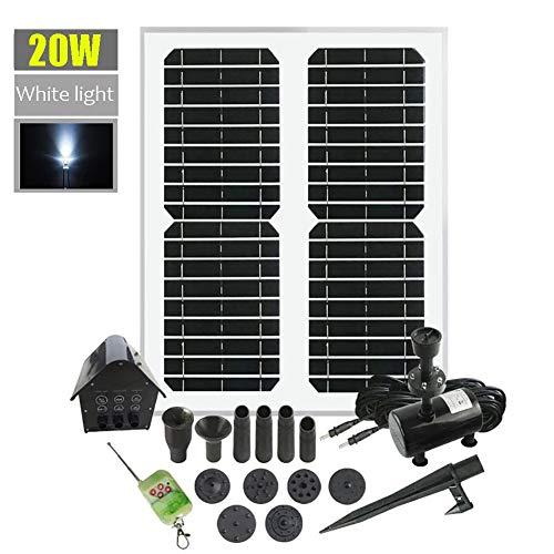 NZHK 20W Solar Fountain Kit, LED-Sonnenkollektor Wasserpumpe Tauchbrunnen Built-In 4400Mah Akku Mit Vier-Gang-Fernbedienung Für Teich-Garten-Dekoration